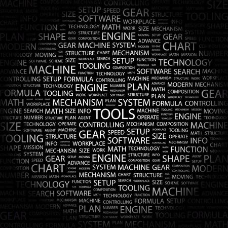 tooling: TOOLS. Word collage on black background. Illustration