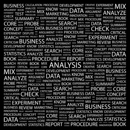 ANALYSIS. Word collage on black background. Stock Vector - 7349079