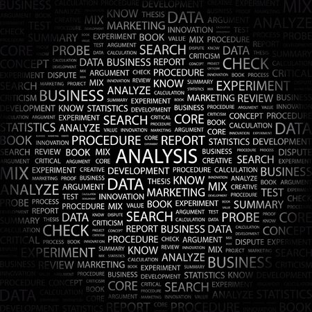 ANALYSIS. Word collage on black background. Stock Vector - 7349157