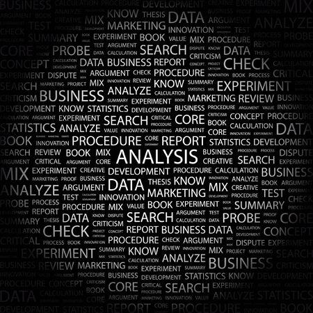 argumentation: ANALYSIS. Word collage on black background.