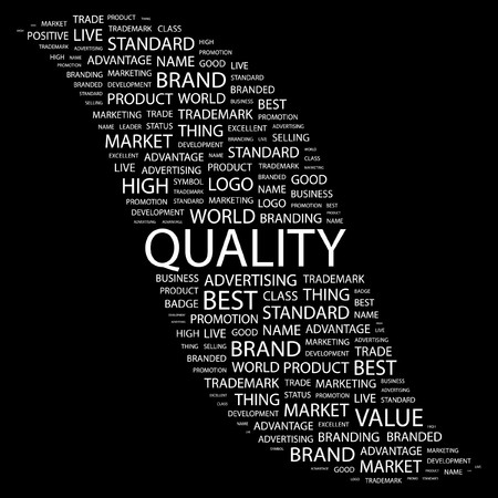 high definition: QUALITY. Word collage on black background.