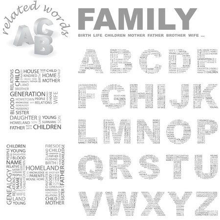 kindred: FAMILY. Word cloud illustration.