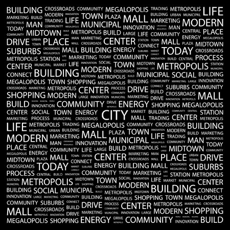 copy center: CITY. Word collage on black background.