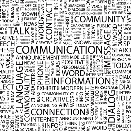 seamlessly: COMMUNICATION. Wordcloud illustration.   Illustration