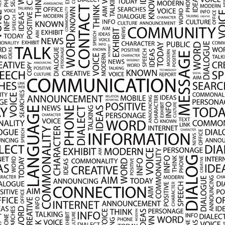 seamlessly: COMUNICAZIONE. Wordcloud illustrazione.