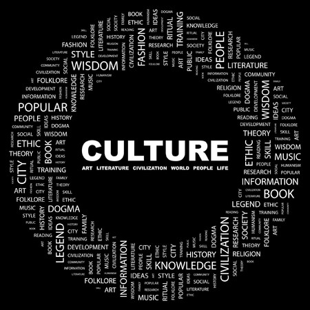 humanism: CULTURA. Palabra collage sobre fondo negro.  Vectores
