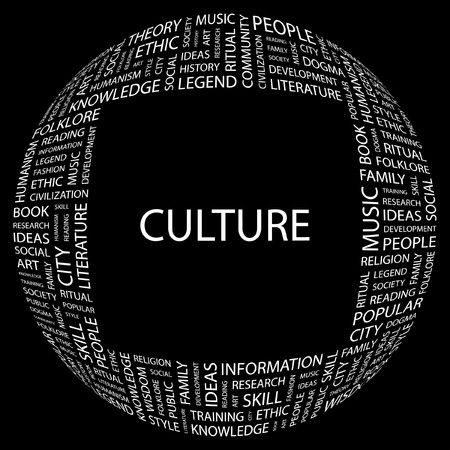 CULTURE. Word collage on black background.  Stock Vector - 7346859
