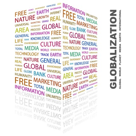 transnational: GLOBALIZATION. Word collage on white background.