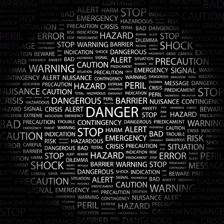 contingency: DANGER. Word collage on black background.