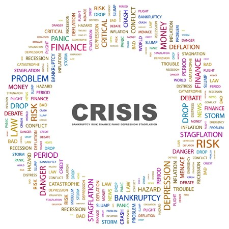 endangerment: CRISIS. Word collage on white background.