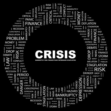 contingency: CRISIS. Word collage on black background.