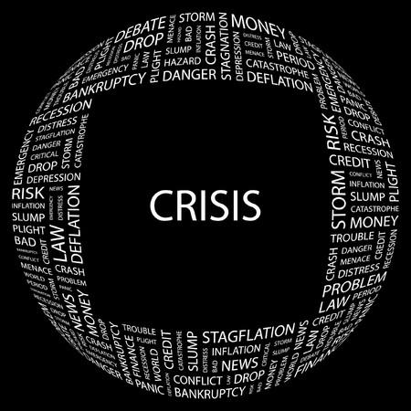 endangerment: CRISIS. Word collage on black background. Vector illustration.