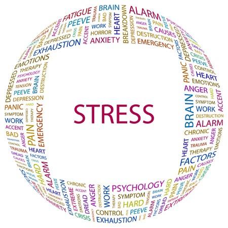 ストレス。白い背景の上の単語のコラージュ。