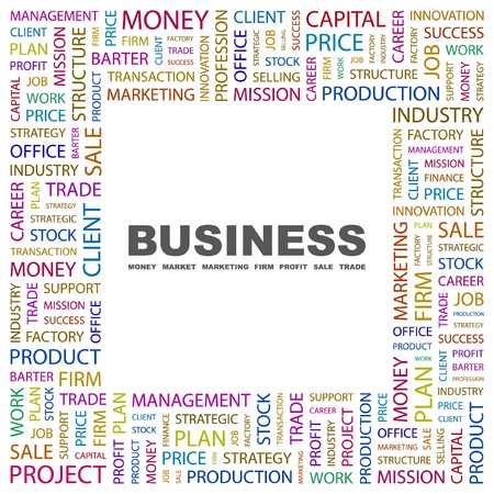 BUSINESS. Word collage on white background. Vector