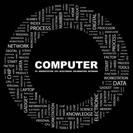 office automation: COMPUTER. Word collage on black background.