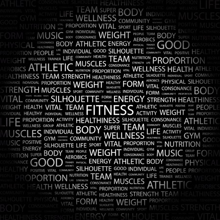ejercicio aer�bico: FITNESS. Palabra collage sobre fondo negro.  Vectores