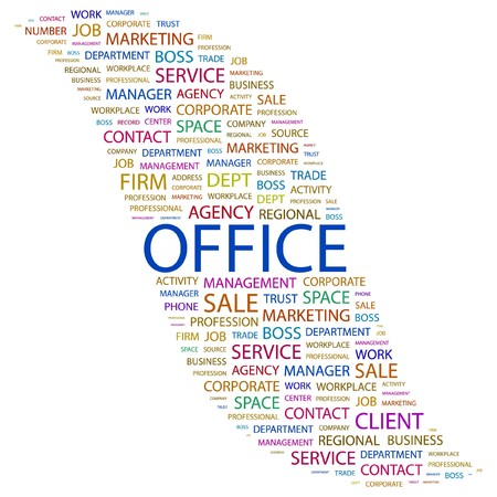 OFFICE. Word collage on white background. Stock Vector - 7346732