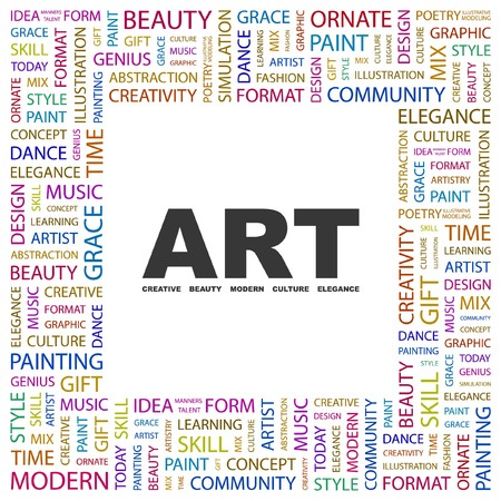 erudition: ART. Word collage on white background.