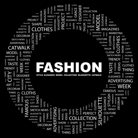 FASHION. Word collage on black background. Vector