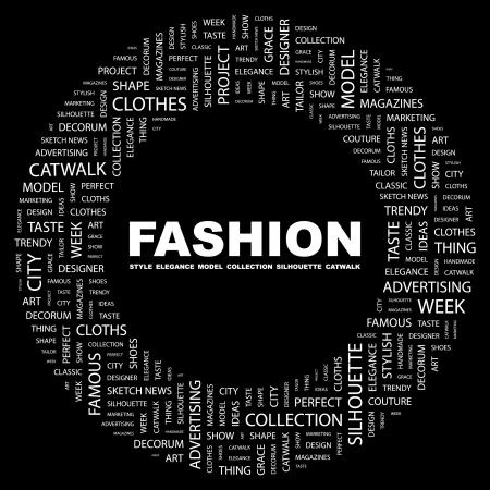 moda urbana: MODA. Palabra collage sobre fondo negro.  Vectores
