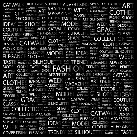 FASHION. Word collage on black background.  Illustration