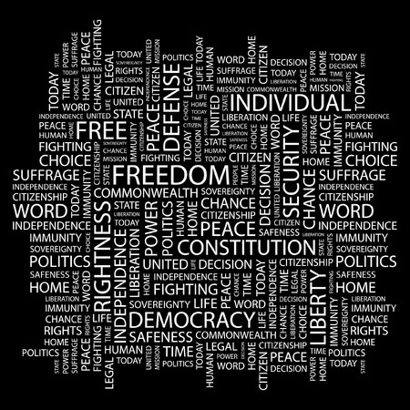 FREEDOM. Word collage on black background. Stock Vector - 7346779