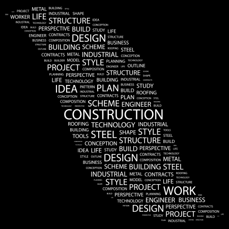 erection: CONSTRUCTION. Word collage on black background.