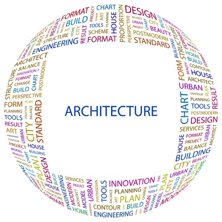 systematization: ARCHITECTURE. Word collage on white background.