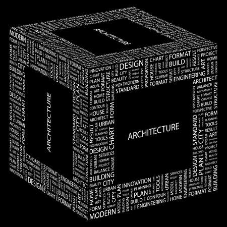systematization: ARCHITECTURE. Word collage on black background. Illustration