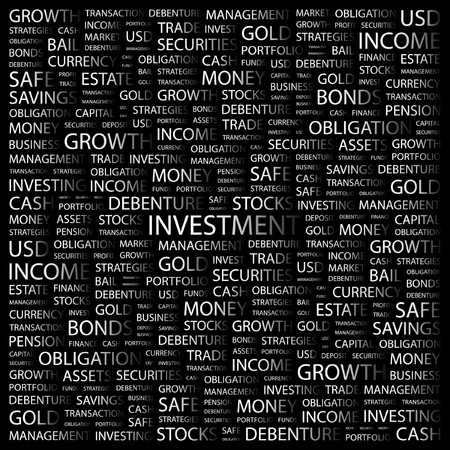 INVESTMENT. Word collage on black background.  Vector