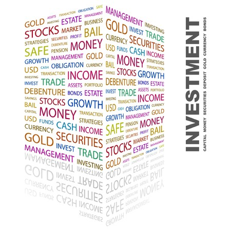 INVESTMENT. Word collage on white background. Vector
