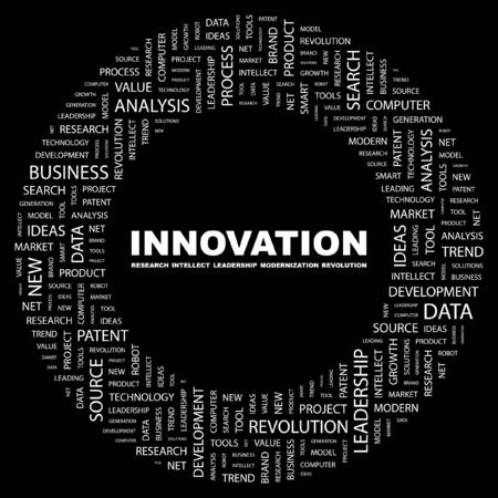 INNOVATION. Word collage on black background. Vector