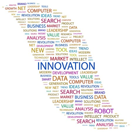 INNOVATION. Word collage on white background. Vector