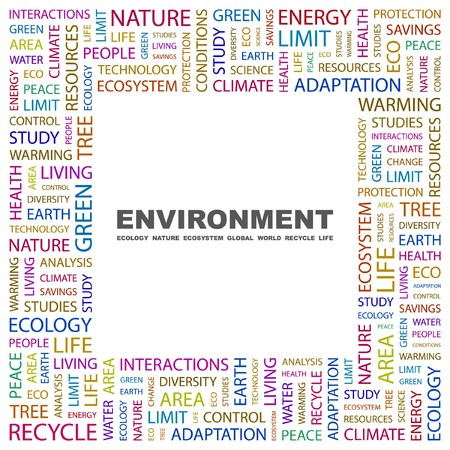 ENVIRONMENT. Word collage on white background. Vector