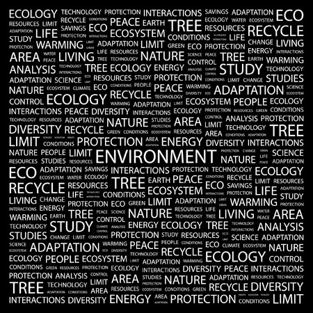 ENVIRONMENT. Word collage on black background. Vector
