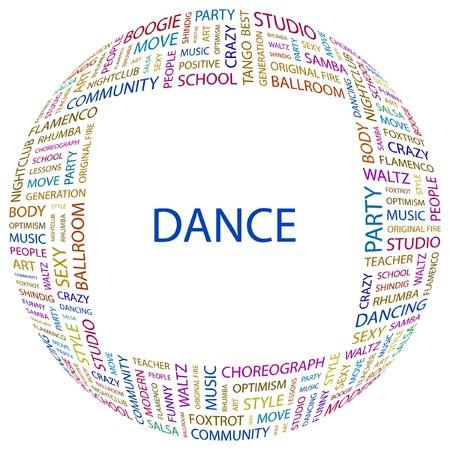 waltz: DANCE. Word collage on white background.