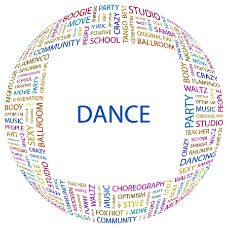 dance teacher: DANCE. Word collage on white background.