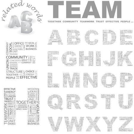concerted: TEAM.Word cloud illustration.