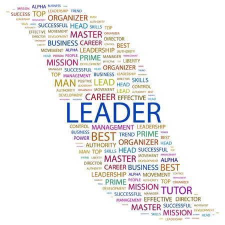 kingpin: LEADER. Word collage on white background.