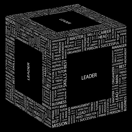 LEADER. Word collage on black background.