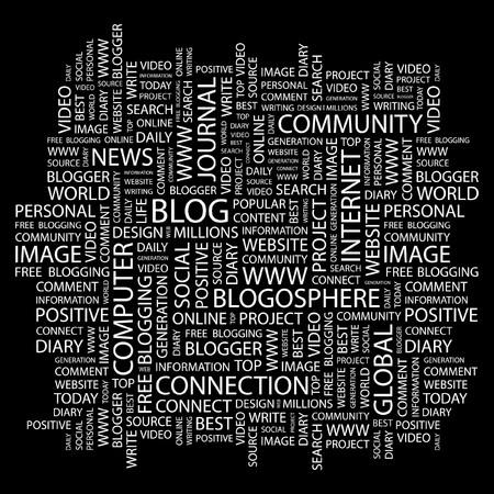 BLOG. Word collage on black background.