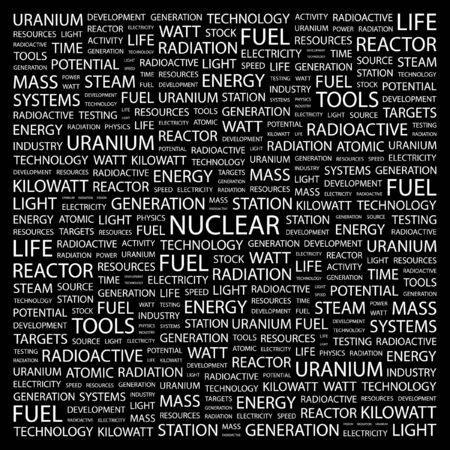 NUCLEAR. Word collage on black background. Vector