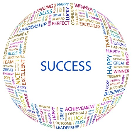 work popular: SUCCESS. Word collage on white background.