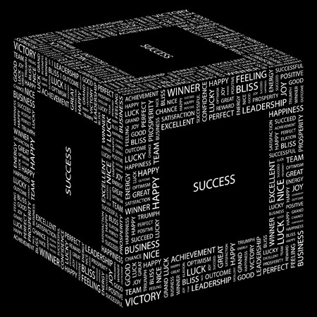 more information: SUCCESS. Word collage on black background. Illustration