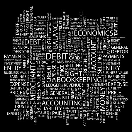 DEBIT. Word collage on black background. Stock Vector - 7346903