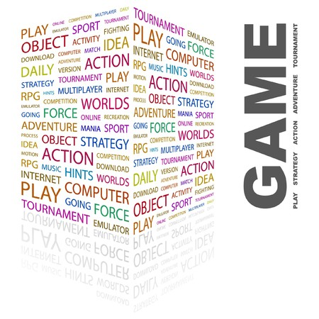 online game: GAME. Word collage on white background. Illustration