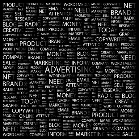 tout: ADVERTISING. Word collage on black background.