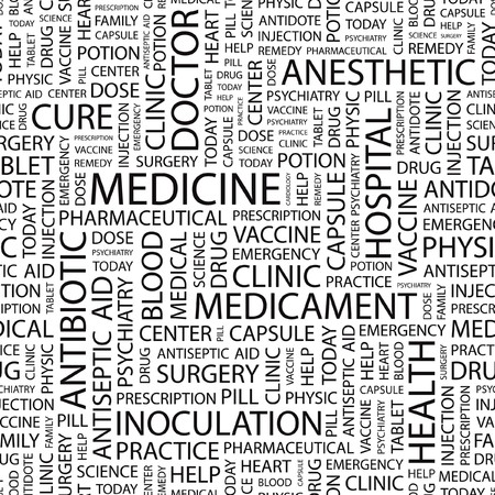MEDICINE. pattern with word cloud.