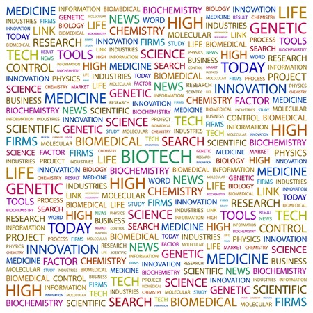 bioscience: BIOTECH. Word collage on white background.