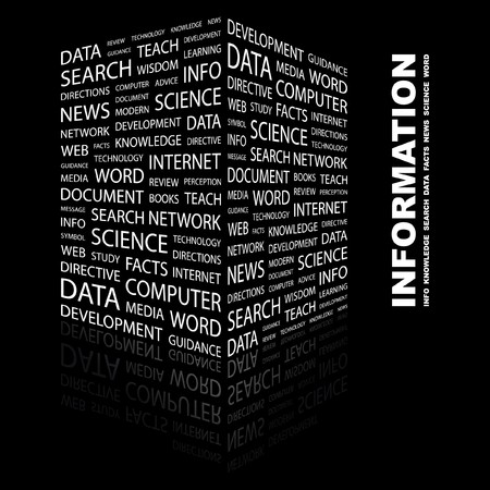 INFORMATION. Word collage on black background. Vector